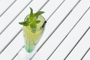 Lemonade with mint and ice.
