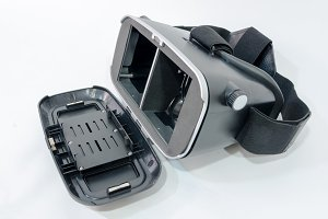 Virtual reality glasses in black ove