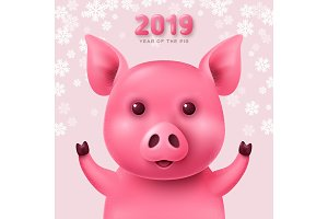 Cute funny pig for calendar
