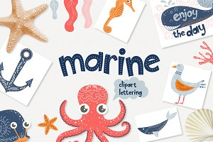 Marine - clipart & lettering