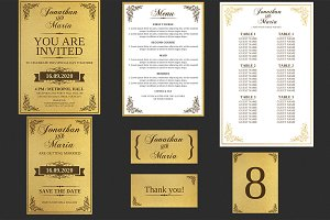 Gold Wedding Invitation Set
