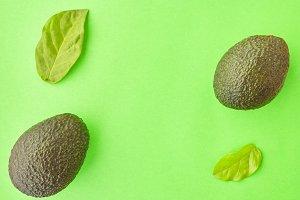 Avocado Flat lay Minimal background