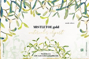 Mistletoe gold. watercolor clipart