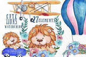 Cute Lions clipart, Kids clipart