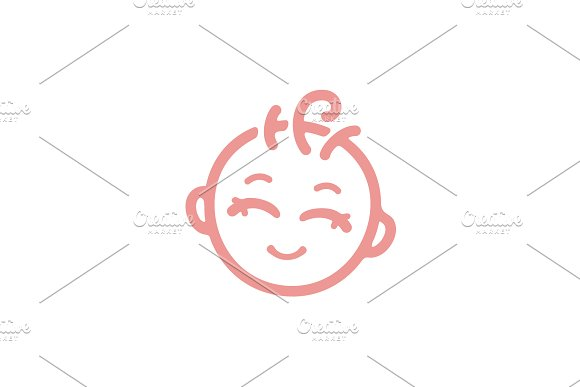 Simple Cute Baby Face Logo