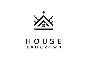House & Crown Mono Line Logo Design