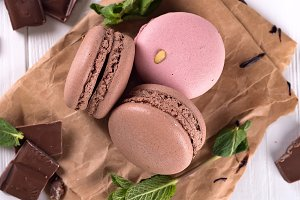 chocolate and macaroons on old
