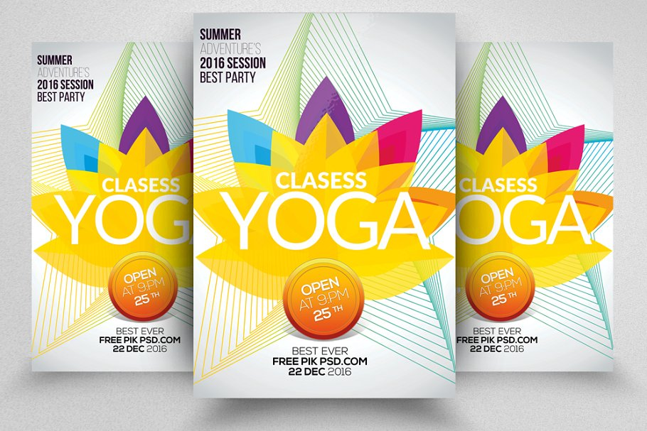 Yoga Classes PSD Flyer Templates