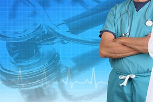 Medical Banner with and EKG graph an