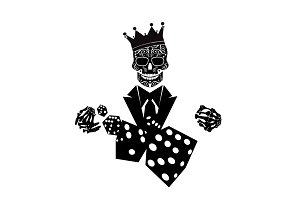 King skull with dices casino