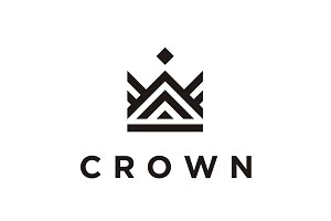 Simple Mono Line Crown Logo Design