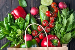 Ingredients for making healthy salad