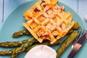Grilled waffle with Green boiled