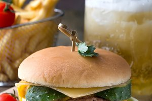 Tasty grilled prawn and beef burger