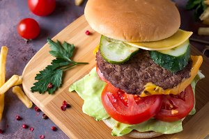 Tasty grilled home made burger
