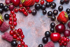Heart shape assorted berry fruits on