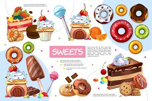 Sweet products infographic template