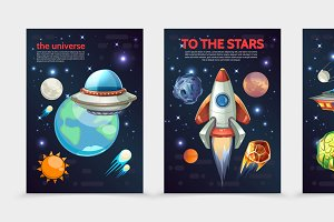 Cartoon colorful space banners