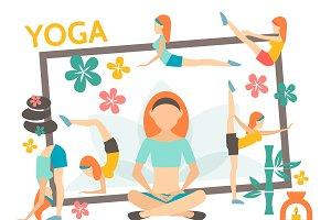 Flat yoga concept
