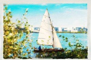 A sailing along a river Elbe