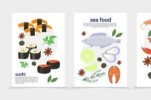 Flat sea food posters