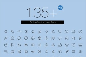 135+ outline vector icons pack