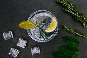 Gin tonic cocktail drink with ice
