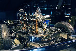 car engine mounted on a chassis