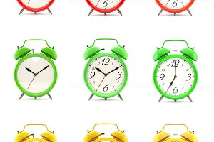 Set of nine alarm clocks