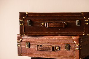 Two Leather Suitcases
