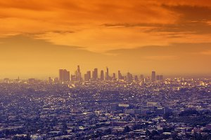 Sunrise over downtown Los Angeles.