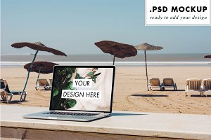 Laptop Mockup - beach & umbrellas