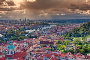 Panorama of Prague with Vltava river