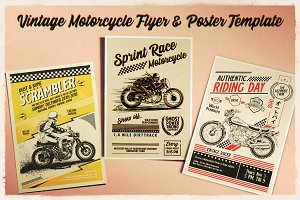 Vintage Motorcycle Flyer & Poster