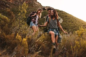 Young people hiking
