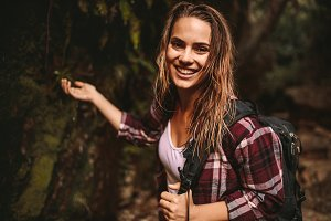 Beautiful woman enjoying hiking