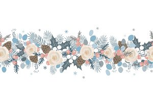 Christmas seamless garland. Vector
