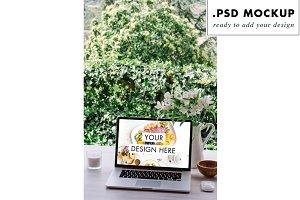 Floral Desk Work Table Laptop Mockup