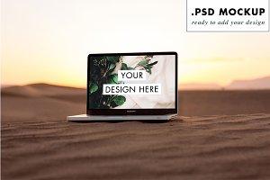 Sand Dunes Desert Sunset Laptop PSD