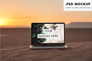 Sunset Sahara Dune Laptop Web Mockup