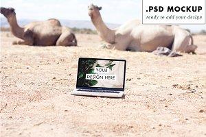 Laptop Camels Desert Web PSD Mockup