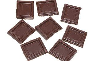 Dark chocolate isolated on white