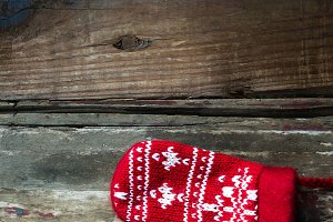 Christmas Red Knitted Mittens