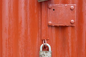 Lock on the red door