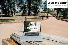 Forest Working Table Laptop Mockup