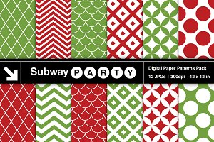 Xmas Red Green Retro Geometric Paper
