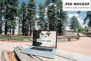 Digital Nomad Tree Forest Laptop PSD