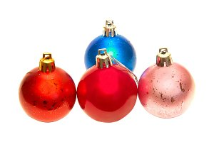Four colored Christmas baubles