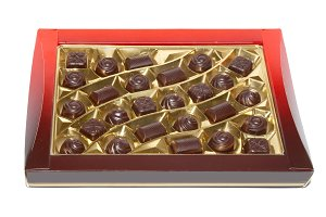 Sorted chocolate candies box