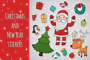 Christmas and New year stickers